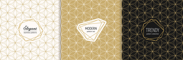 Vector golden geometric seamless patterns with modern minimal labels. Elegant gold textures set with linear grid, mesh, net, thin lines. Art deco style. Trendy minimalist background. Luxury design