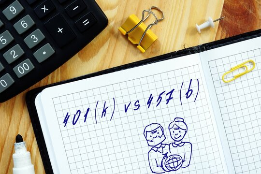 Business concept meaning 401(k) vs 457(b) with sign on the sheet.