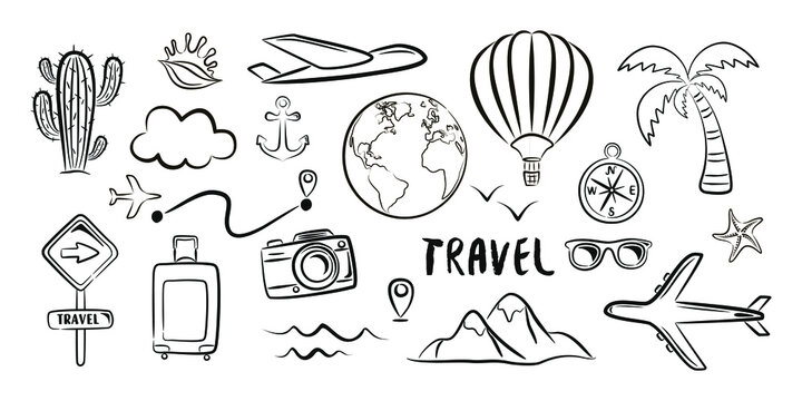 Concept black set of doodle travel icons and elements on a white background. Isolated drawing vector illustration.