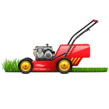 Vector Lawn Mower with Grass