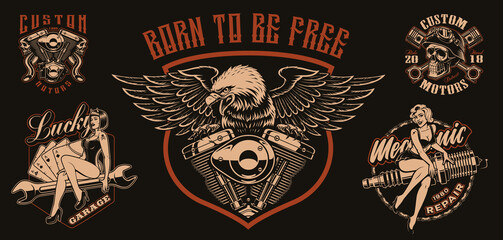 Set of vector biker-themed illustrations for apparel, logos, and many other uses.