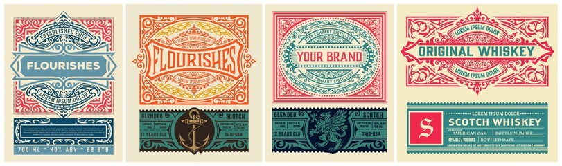 Mega set of 8 vintage labels. Vector layered