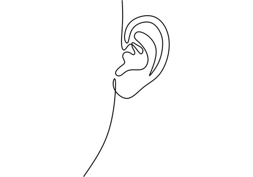 Drawing a continuous line of human ear. World deaf day simple one single line sketch. Minimalist hand drawing banner. Part of body symbol stock vector illustration isolated on white background