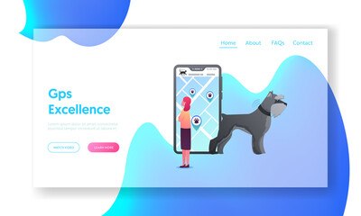 GPS Navigation App for Pets Landing Page Template. Tiny Female Character Stand at Huge Smartphone Look on Screen with City Map and Location Pins, Dog in Signaling Collar. Cartoon Vector Illustration