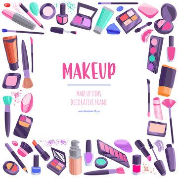 Hand drawn cosmetics set. Professional makeup items decorative border.