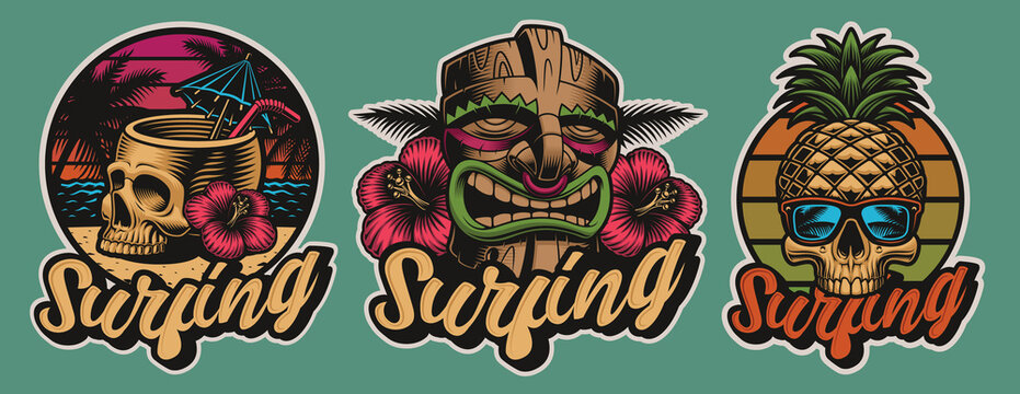 Set of colourful Hawaii surfing illustrations with skulls, tiki mask. These vector are perfect for logos, shirt prints and many other uses as well.