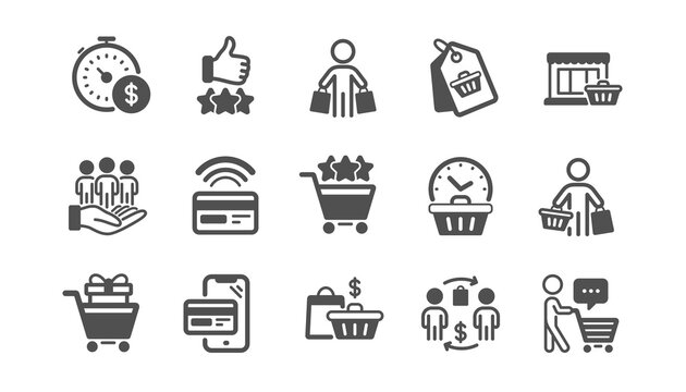 Buyer customer icons set. Contactless payment card, shopping cart and group of people. Store, buyer loyalty card, client ranking set icons. Shopping timer, phone payment, currency. Quality set. Vector