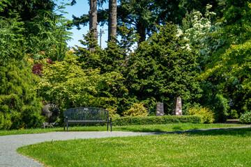 Park Garden Bench in the Sunshine