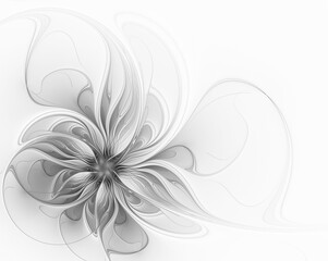 Elegant gray fractal flower on a white background