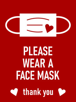 Please Wear a Face Mask Thank You Horizontal Warning Sign with Mask and Heart Icons. Vector Image.