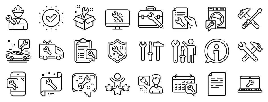Set of Hammer, Screwdriver and Spanner tool icons. Repair car service line icons. Recovery, Washing machine repair, Car service. Engineer tool, Tech support. Spanner equipment, screwdriver. Vector
