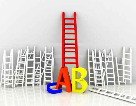education school learning competitive advantage ladders letters alphabet - 3d rendering