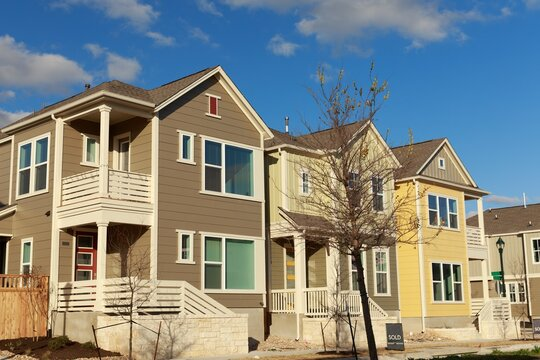 New Home construction in the Mueller neighborhood in Austin, Texas, USA.