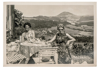 Old photo young fashion women outdoors Vintage picture