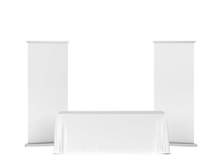 Blank tradeshow tablecloth with roll-up banners aside