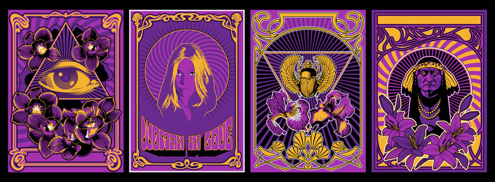 Psychedelic Art Poster Set, 1960s Hippie Style Placards, Woman in Love, Eye in Triangle, Egyptian Scarab, Old person Chief, Floral Decorations - Lily, Orchids, Iris Flowers