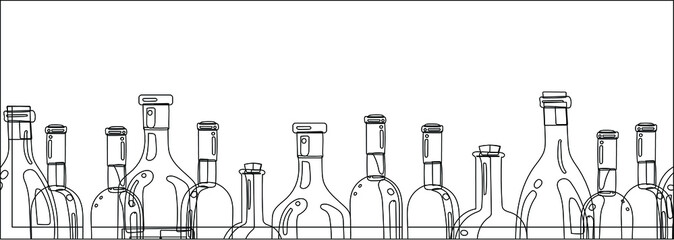 The silhouettes of the bottles of alcohol on a white background. Long banner for website design, menu, and wine list. Vector drawing.