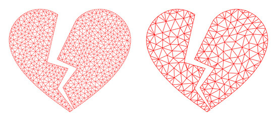 Mesh vector broken love heart icon. Mesh carcass broken love heart image in lowpoly style with structured triangles, nodes and lines. Mesh composition of triangulated broken love heart,