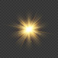 Gold glitter star burst with sparkles. Vector glow light effect