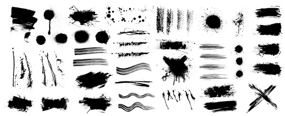 Fotobehang - Ink and grunge elements set (splash, brush, paint template, brush stroke, stains, splastter, blob and other textures) Diverse set, dirty elements and high detail. Vector collection grunge