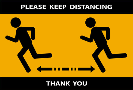Social distancing icon.Keep Safe Distance. People jogging after lockdown due to coronavirus covid 19. New normal concept. Sign and symbol vector illustration.