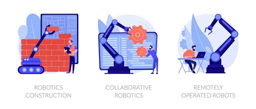 Smart industry development. Artificial intelligence in surgery. Robotics construction, collaborative robotics, remotely operated robots metaphors. Vector isolated concept metaphor illustrations