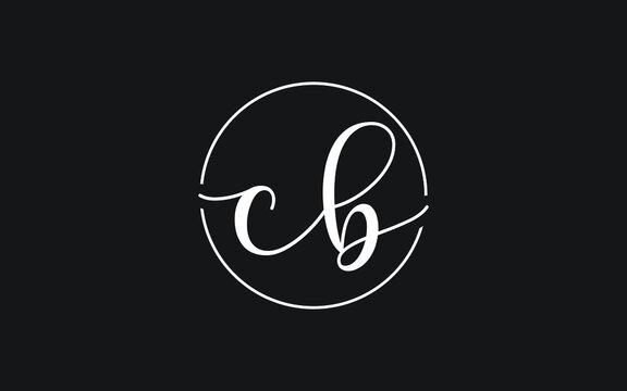 cb or bc Cursive Letter Initial Logo Design, Vector Template