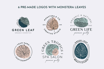 Collection of Monstera leaf logo design template in simple minimal linear style. Vector Exotic tropical emblem