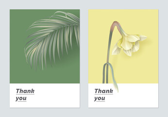 Minimalist botanical thank you card template design, indoor bamboo palm and Daffodil