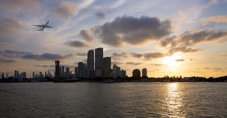 Colombia, scenic Cartagena bay (Bocagrande) and city skyline at sunset