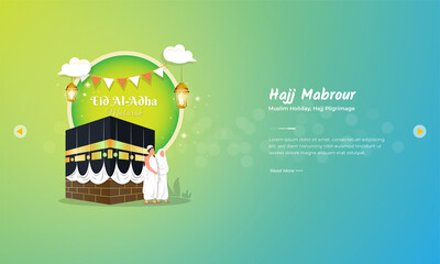 Islamic holiday of Eid al adha with hajj mabrour illustration for greeting concept Fotomurales
