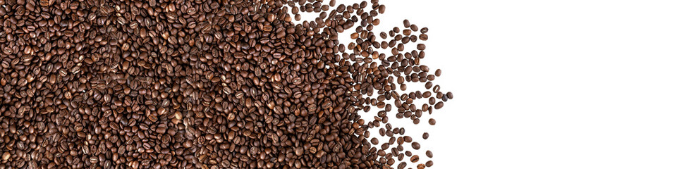 Tuinposter koffiebar Coffee beans isolated on white background. Panorama