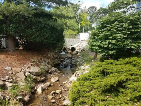 small creek with rocks and drainage pipes