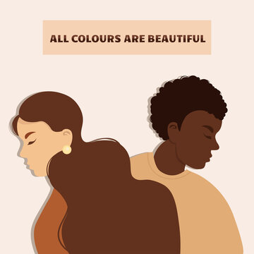 Stop racism. Black lives matter, we are equal. No racism concept. Flat style. Different skin colors. Supporting illustration. Vector.