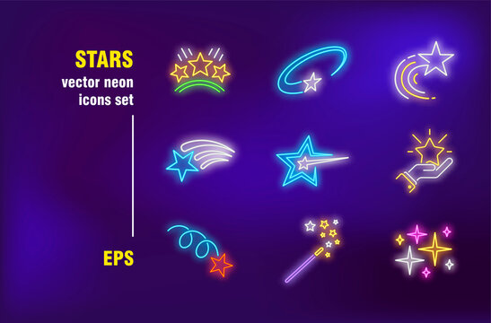 Stars neon signs collection. Magic wound, lightning and shining. Vector illustrations for night bright advertisement. Holiday and entertainment concept