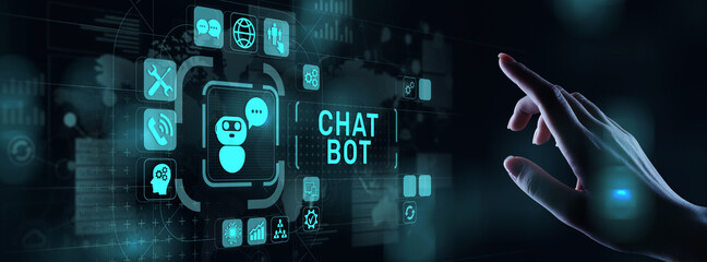 Chatbot computer program designed for conversation with human users over the Internet. Support customer service concept.