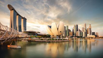 Fotomurales - Singapore - Marina bay at sunset, Asia