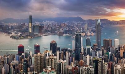 Fotomurales - Hong Kong cityscape panorama from Victoria peak, China - Asia