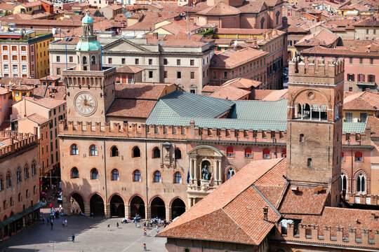 Aerial view of architecture Piazza Maggiore in Bologna city, Italy