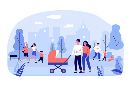 Happy family walking in park flat vector illustration. Cartoon young mothers and fathers with kids outdoors. Weekend, cityscape and lifestyle concept