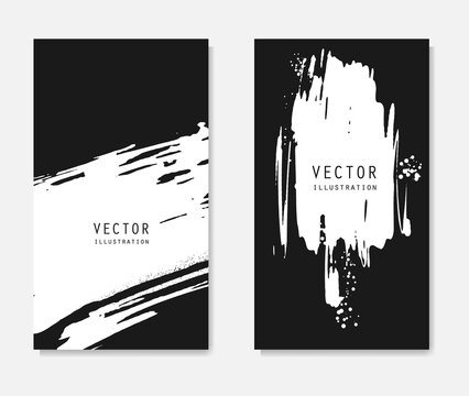 Abstract ink brush banners set with grunge effect
