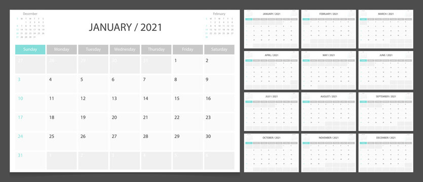 Calendar 2021 week start Sunday corporate design planner template.