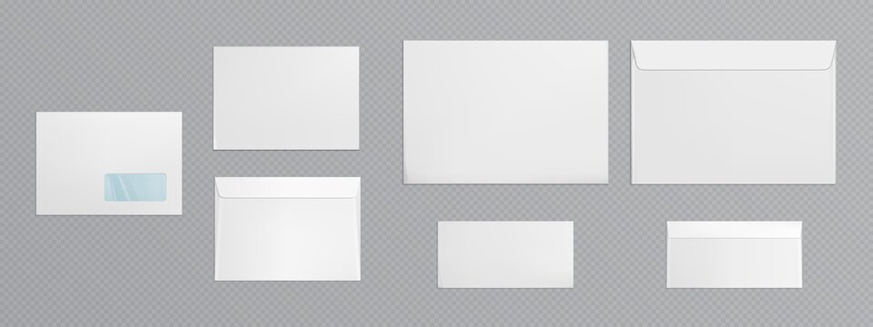White envelope template. Vector realistic mockup of blank closed envelopes with transparent window, letter covers front and back view. Mock up of paper folder for business documents and messages