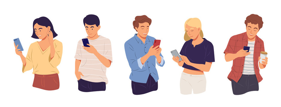 Young people using technology gadget smartphone