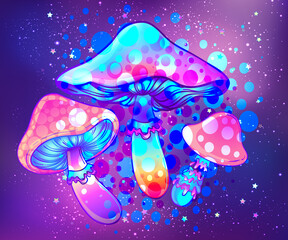 Magic mushrooms over sacred geometry. Psychedelic hallucination. Vibrant vector illustration. 60s hippie colorful art.