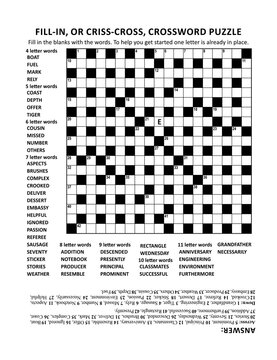 Criss-coss (or fill-in, else kriss-kross) crossword puzzle game of 19x19 grid, fitting Letter or A4 size paper, with general knowledge family friendly content. Answer included.