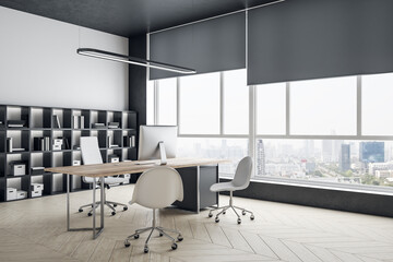Modern office interior with panoramic city view.