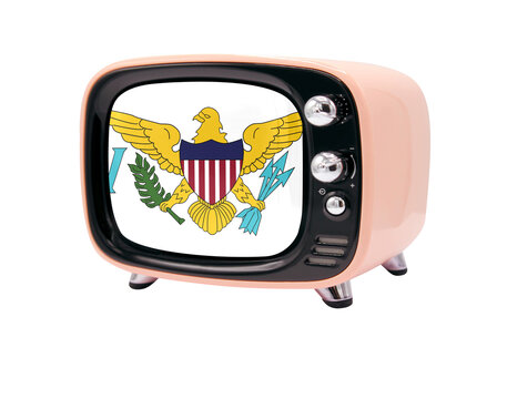 The retro old TV is isolated against a white background with the flag of Virgin Islands of the United States