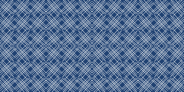 Indigo Cell Graphic Vector Seamless Pattern. Blue