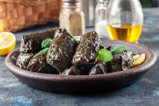 Dolma - stuffed grape leaves with rice and meat